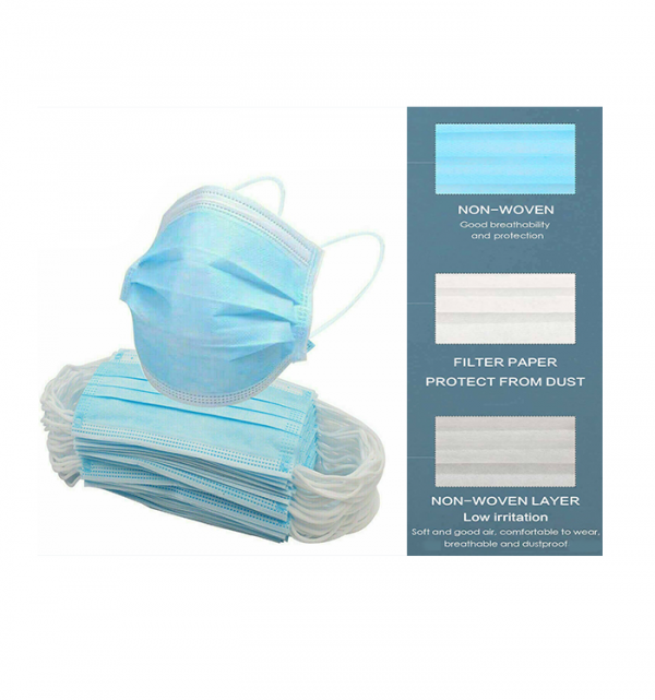 Pack of 50 pieces, 3 ply disposable face masks
